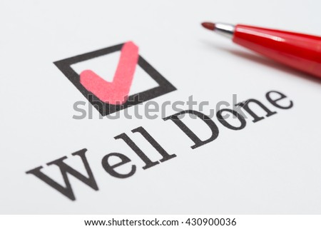 Well Done check boxes - stock photo