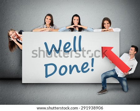 Well done word writing on white banner - stock photo