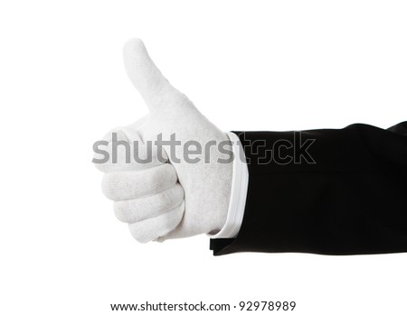 Well dressed hand showing thumbs up isolated on white background - stock photo
