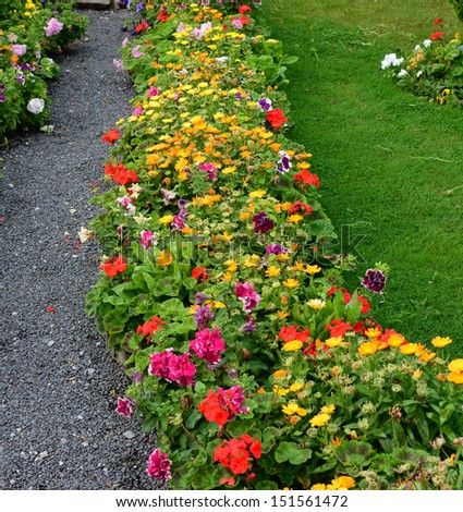 Well kept cottage garden with vibrant flower colours - stock photo