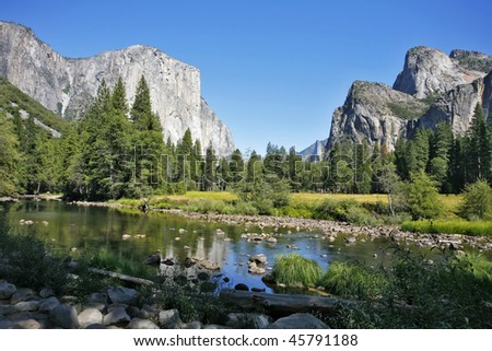 Well-known rocky monolith ?? - Captain are reflected in the river Mersed in Yosemite park