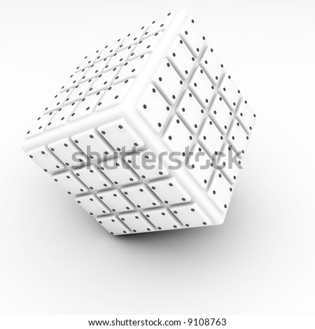 well-organized located group of bolted cubes of light tones on white background - stock photo