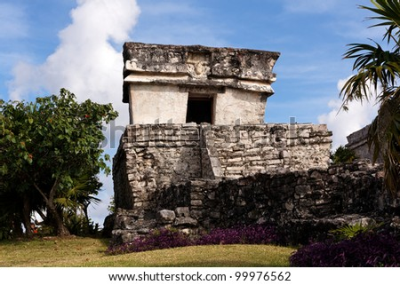 Well preserved Mayan building at the archeological park of Tulum, Quintana Roo, Mexico. - stock photo