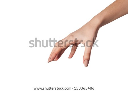 Well shaped Female hand reaching for something isolated on a white background - stock photo
