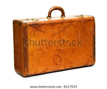 Well-traveled Vintage Suitcase Isolated on White - stock photo