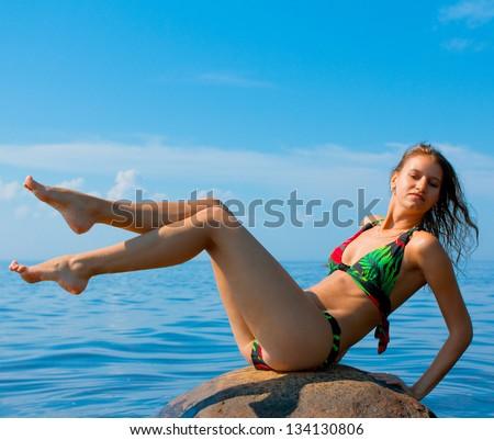 Wellbeing Bikini Sunbathing - stock photo