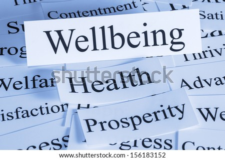 Wellbeing Concept - a conceptual look at wellbeing, health, prosperity, contentment, - stock photo