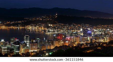 Wellington aerial view at night
