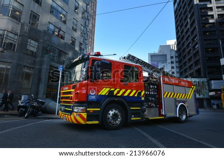 WELLINGTON - AUG 22 2014:New Zealand Fireservice Fire Engine.It's NZ's main firefighting body, primarily responsible for providing fire protection to urban and peri-urban areas of the country. - stock photo