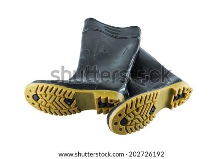 wellington boots on white - stock photo