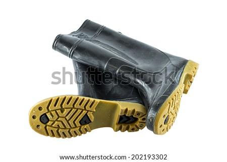 wellington boots on white background - stock photo