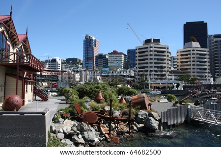 Wellington, capital city of New Zealand. The Lagoon - open public area in the centre. - stock photo