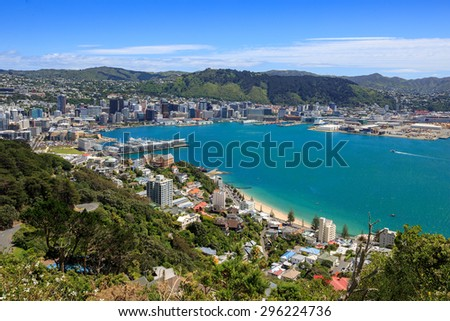 stock-photo-wellington-city-harbor-and-d