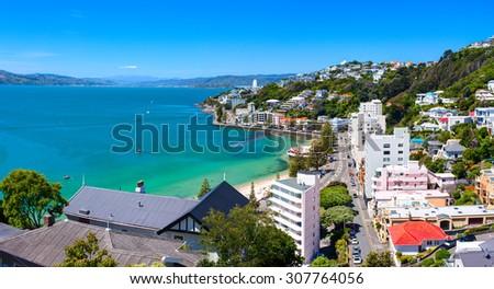 WELLINGTON CITY, NEW ZEALAND - 16 DECEMBER 2014: Panoramic view of the Oriental Bay. Wellington city, New Zealand. - stock photo