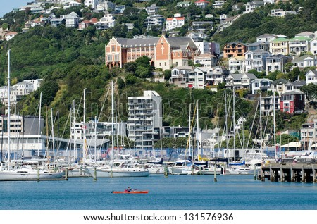 WELLINGTON - FEB 24: Wellington Marina on February 24 2013. Wellington is the capital city and second most populous urban area of New Zealand as It is home to 395,600 residents.