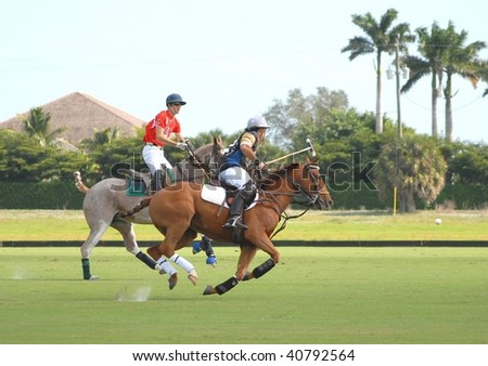 WELLINGTON, FL - NOVEMBER 8:  Polo teams Audi and Grand Champions Polo Club competing in the Wanderer's Cup finals November 8, 2009 in Wellington, FL - stock photo