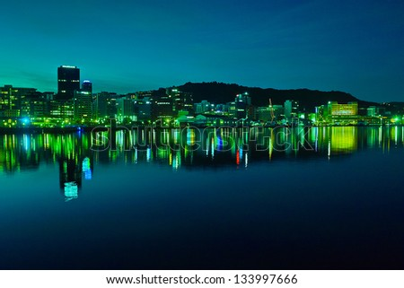 Wellington harbor at night - stock photo