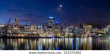 Wellington harbor cityscape at night after sunset