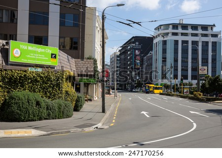 Wellington, New Zealand - September 26: View of local traffic on the streets of Wellington, New Zealand on September 26, 2014. - stock photo