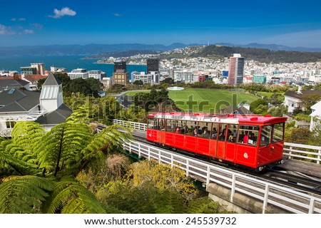 Wellington, New Zealand - September 25: View of the Wellington Cable Car in Wellington, New Zealand on September 25, 2014. - stock photo