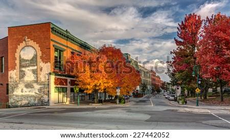 Wellington street downtown Sherbrooke city in fall - stock photo