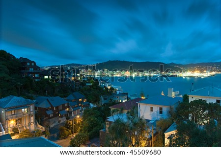 Wellington suburb of Oriental Bay with the city center and Harbour in the background. - stock photo
