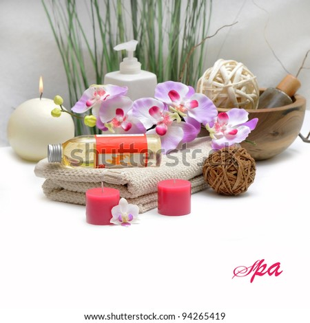 Wellness and relax, spa and aroma therapy setting - stock photo