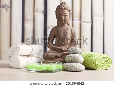 wellness and spa concept with buddha - stock photo