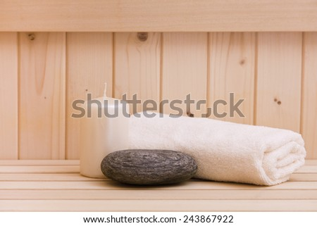 wellness and spa items in finnsh sauna - stock photo