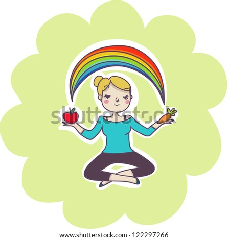 Wellness balance concept: smiling woman in yoga relax