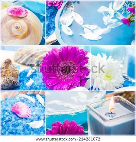 Wellness collage with floral water and bath salt - spa series - stock photo