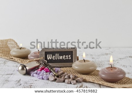 wellness concept with burning candles and lavender