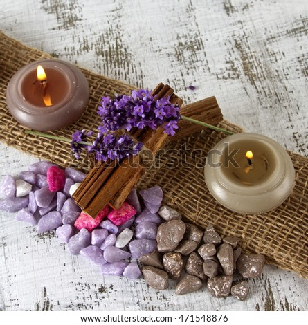 wellness concept with lavender and candles