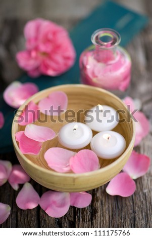 Wellness symbols with rose leaves - stock photo