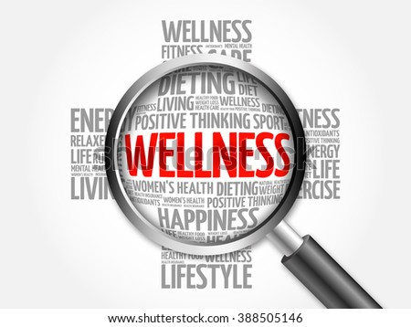 WELLNESS word cloud with magnifying glass, health concept - stock photo