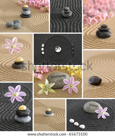 wellness zen garden collage with stone and sand - stock photo