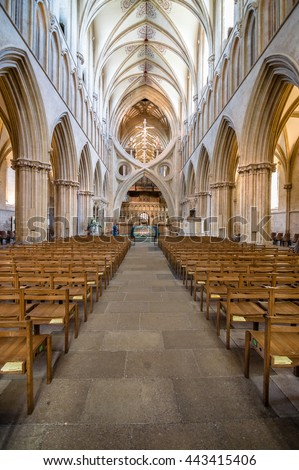 Wells, UK - August 15, 2015: Interior of Wells Cathedral. It is an Anglican cathedral dedicated to St Andrew the Apostle, in Gothic and Early English Style