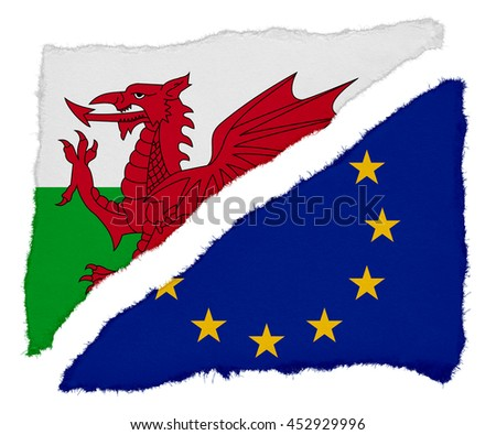 Welsh and EU Flag Torn Paper Scraps Isolated on White Background