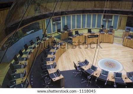 Welsh Assembly debating chamber, UK. - stock photo