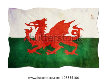 Welsh Flag made of Paper - stock photo