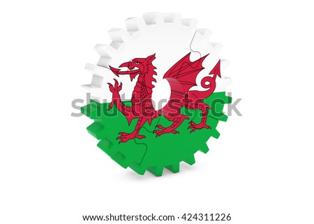 Welsh Industry Concept - Flag of Wales 3D Cog Wheel Puzzle Illustration