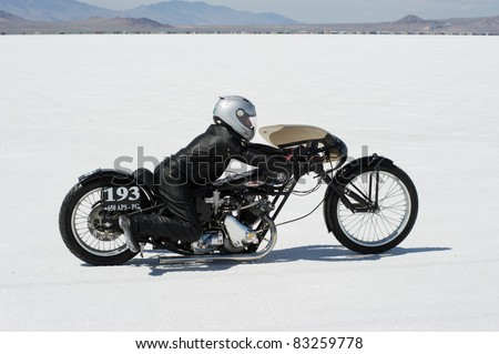 WENDOVER, UT - AUGUST 13: A 650cc Triumph motorcycle on the Bonneville Salt Flats during Bonneville Speed Week on August 13, 2011 in Wendover, UT.