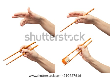 Wenschina shows chopsticks. Instructions . Isolated on white. Alpha - stock photo