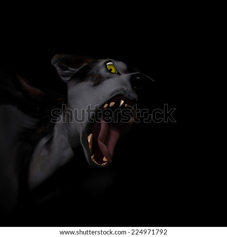 Werewolf - a werewolf is growling at you. Isolated on black. Happy Halloween. - stock photo