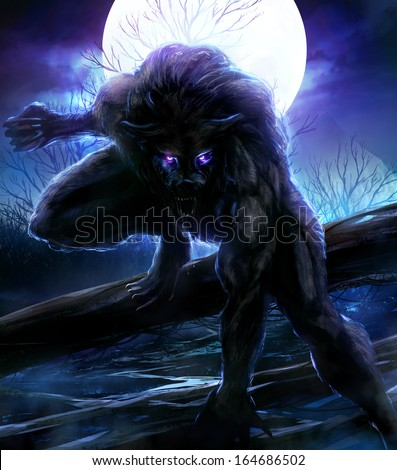 Werewolf. Angry werewolf illustration with night forest background. - stock photo