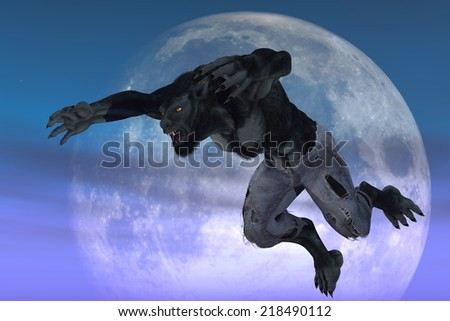Werewolf in ragged jeans in leaping pose against moon backdrop