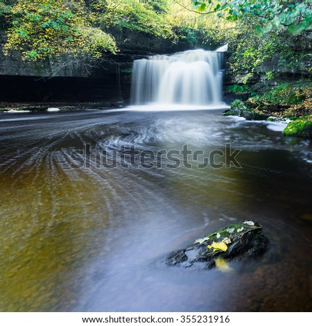 West Burton Falls, Yorkshire Dales National Park in Autumn - stock photo