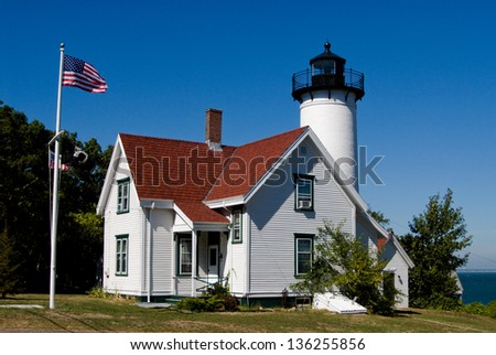 West Chop Lighthouse in Martha's Vineyard, Massachusetts - stock photo