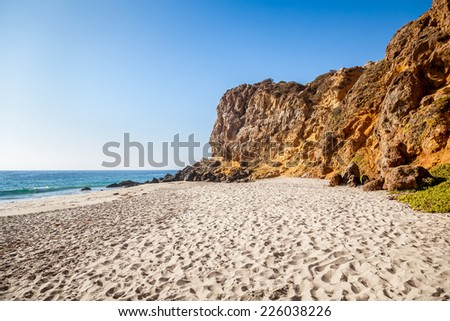 West coast with beautiful beach and cliffs, Malibu, California,  - stock photo