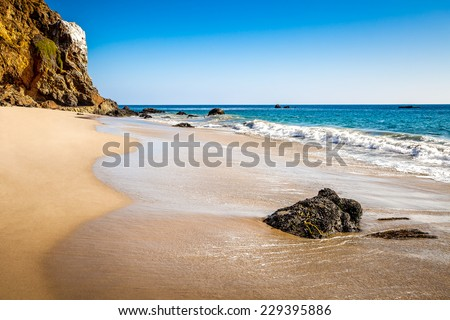West coast with beautiful beach and cliffs, Malibu, California, USA - stock photo